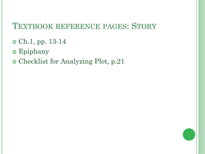 Textbook reference pages: Story