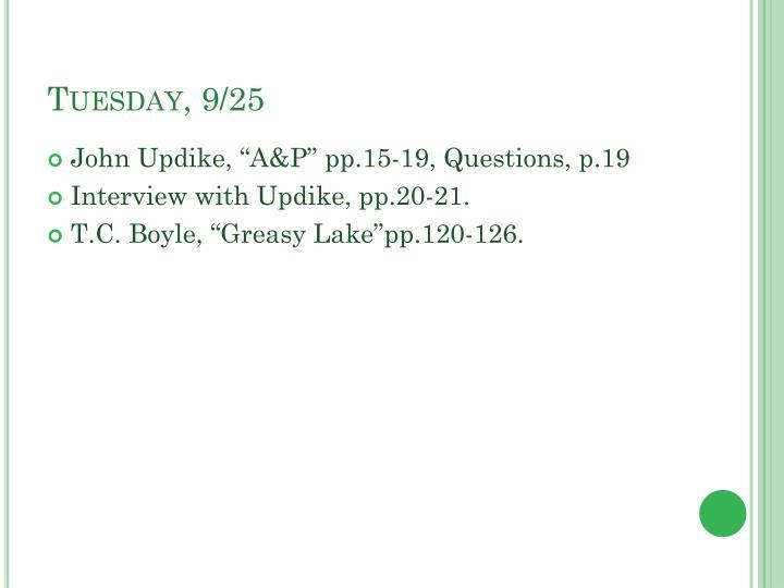 Tuesday, 9/25
