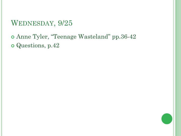 Wednesday, 9/25