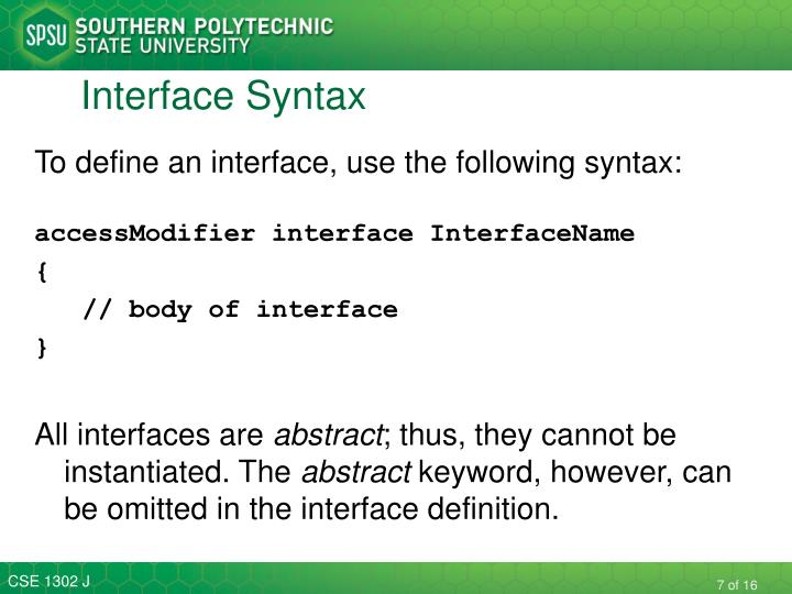 Interface Syntax