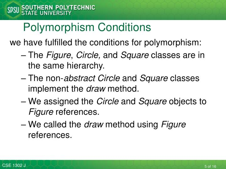 Polymorphism Conditions