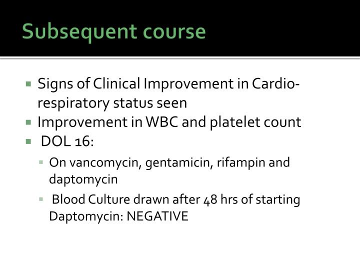 Subsequent course