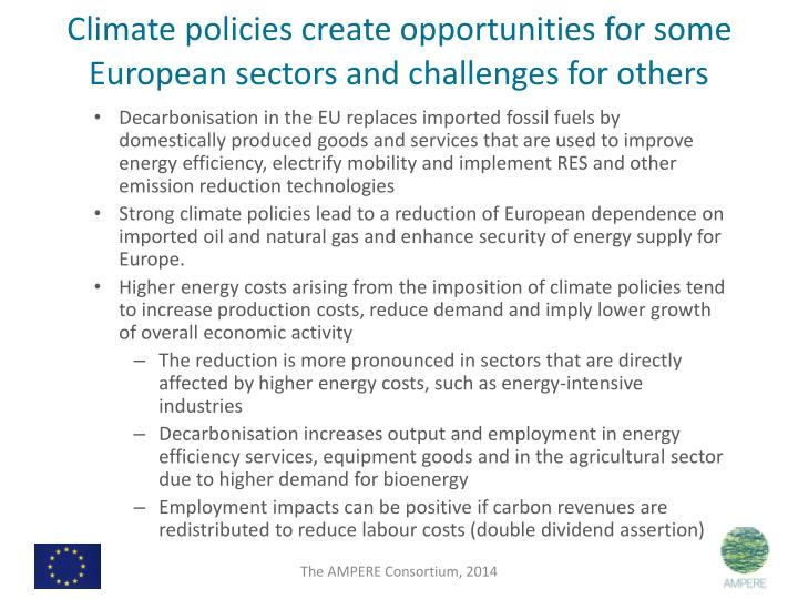 Climate policies create opportunities for some European sectors and challenges for others