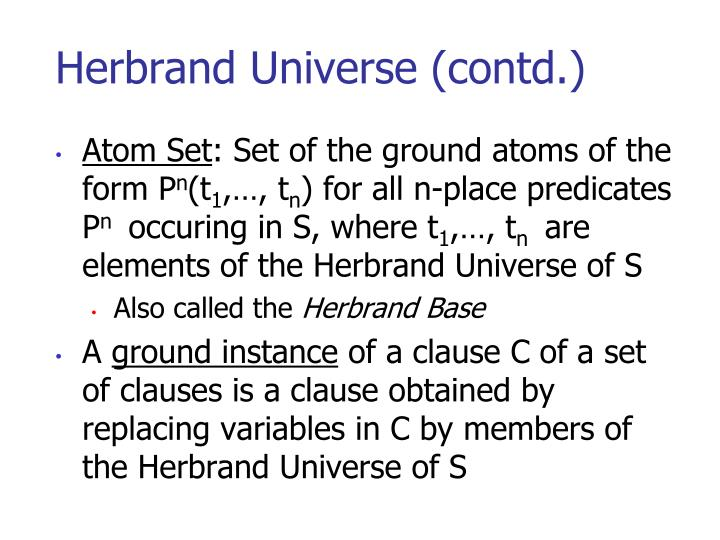 Herbrand Universe (contd.)