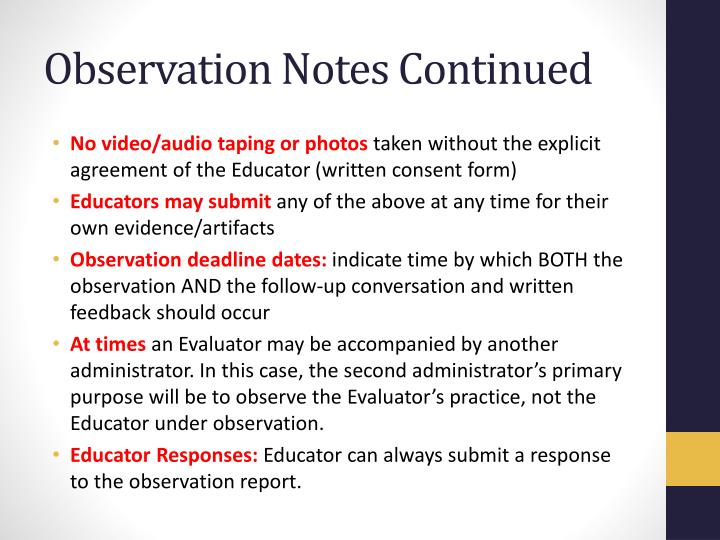 Observation Notes Continued
