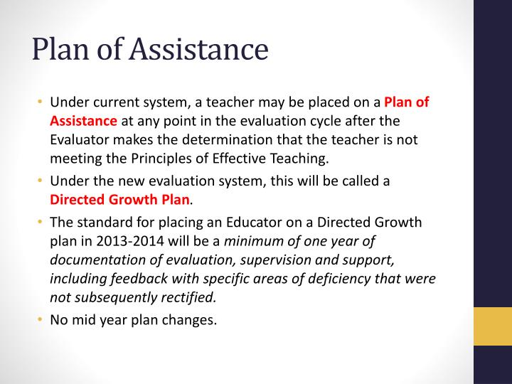 Plan of Assistance