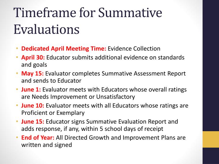 Timeframe for Summative Evaluations