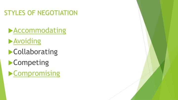Styles of negotiation