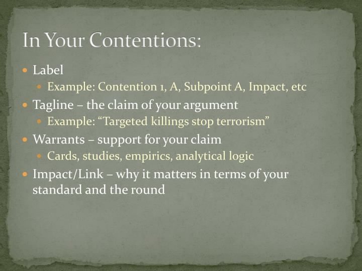In Your Contentions: