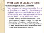 what kinds of leads are there7