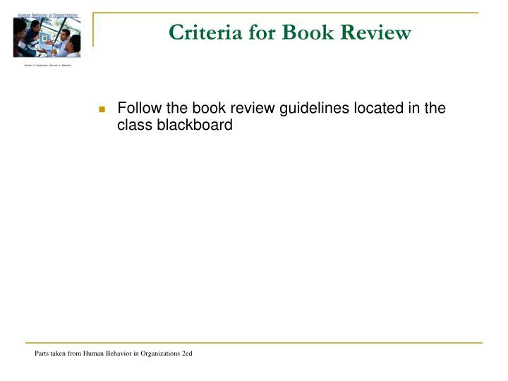 Criteria for Book Review