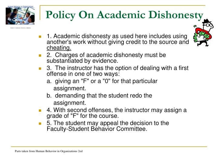 Policy On Academic Dishonesty