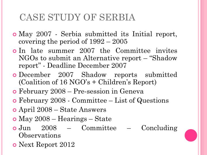 CASE STUDY OF SERBIA