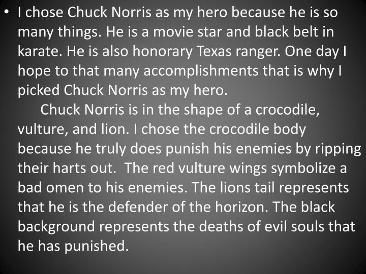I chose Chuck Norris as my hero because he
