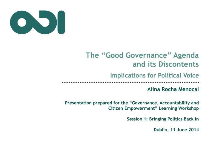 the good governance agenda and its discontents
