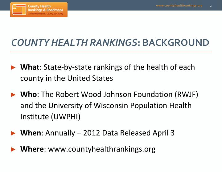 County health rankings background