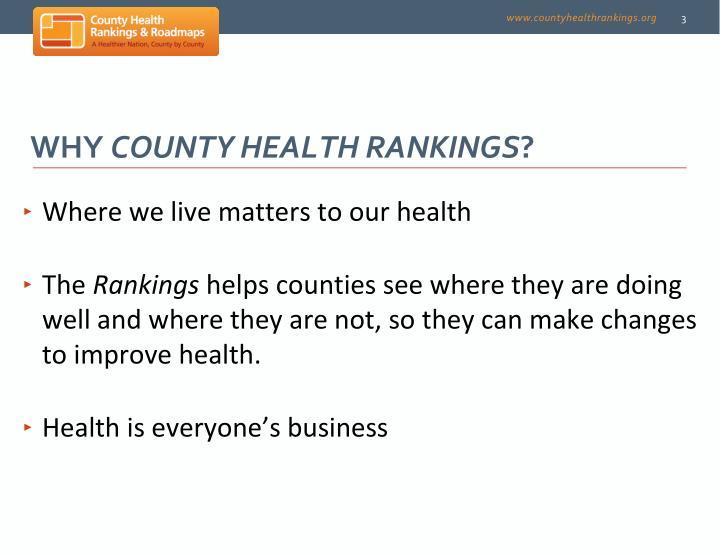 Why county health rankings