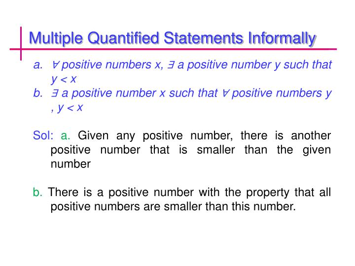Multiple Quantified Statements Informally