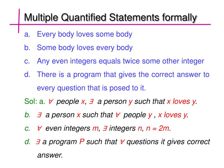 Multiple Quantified Statements formally