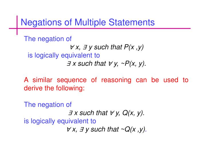 Negations of Multiple Statements