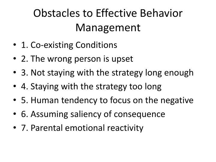 Obstacles to Effective Behavior Management