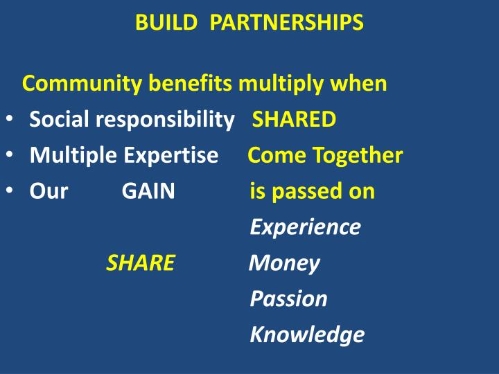 Build partnerships