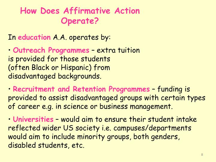 How Does Affirmative Action Operate?