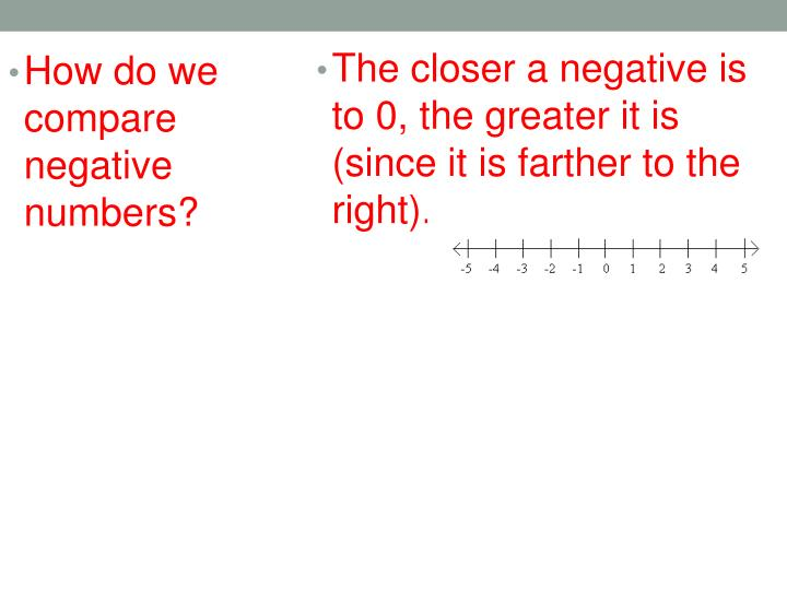 The closer a negative is to 0, the greater it is (since it is farther to the right).
