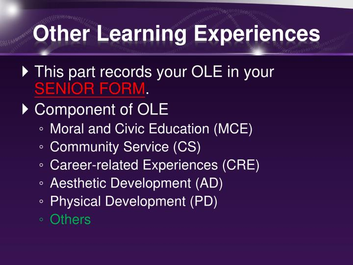 Other learning experiences