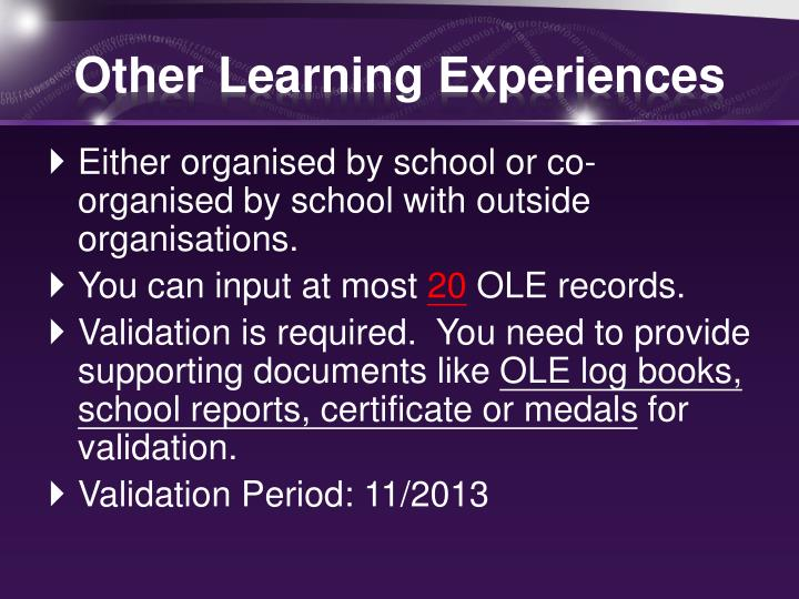 Other learning experiences1