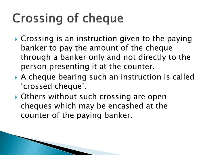 what are crossed cheques