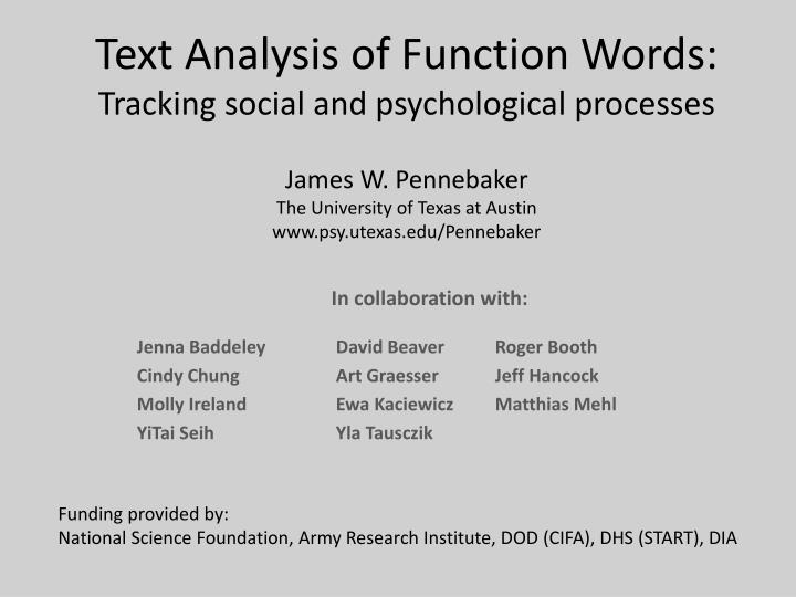 Text Analysis of Function Words