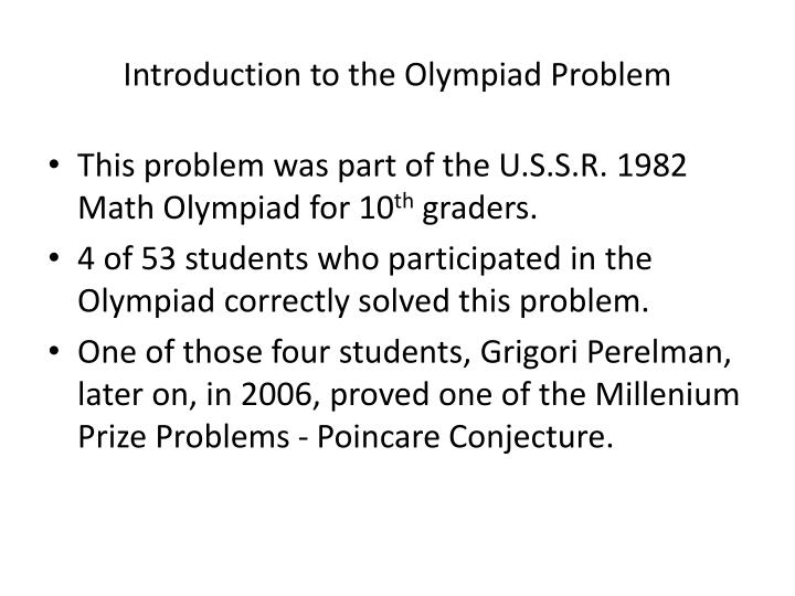 Introduction to the olympiad problem