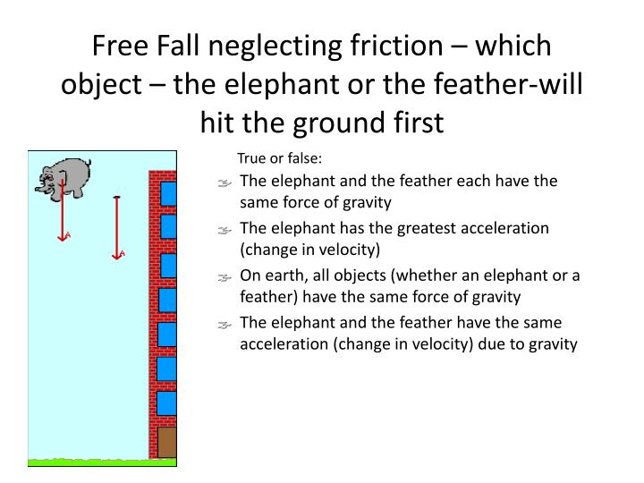 Free Fall neglecting friction – which object – the elephant or the feather-will hit the ground first
