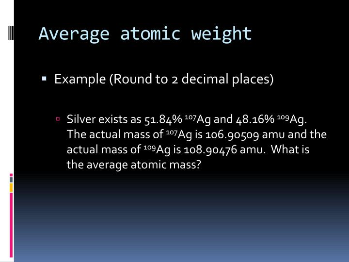 Average atomic weight
