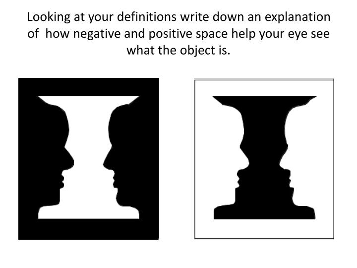 Looking at your definitions write down an explanation of  how negative and positive space help your eye see what the object is.