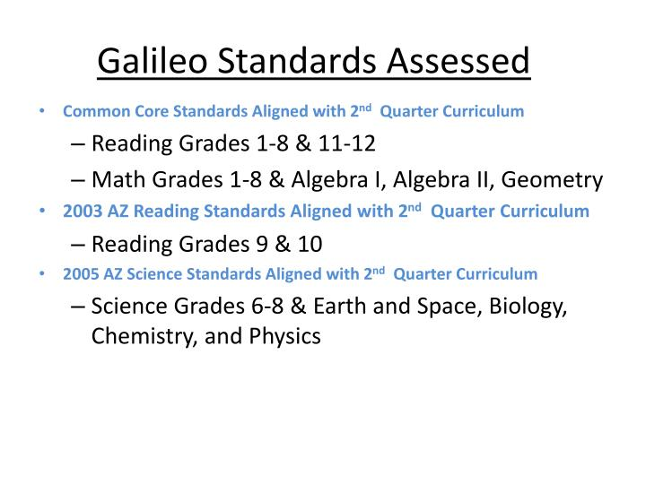 Galileo standards assessed