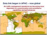 data link began in apac now global