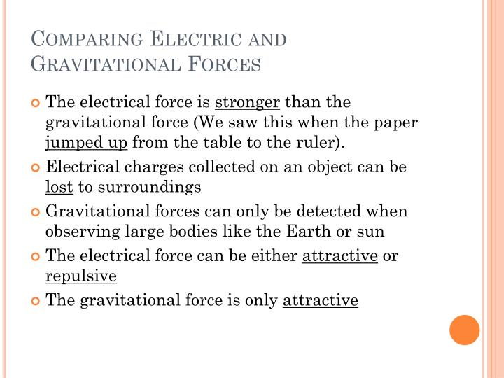 Comparing Electric and Gravitational Forces