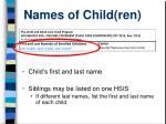 names of child ren
