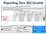 reporting zero 0 income