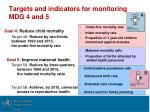 targets and indicators for monitoring mdg 4 and 5