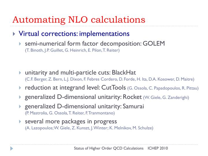 Automating NLO calculations