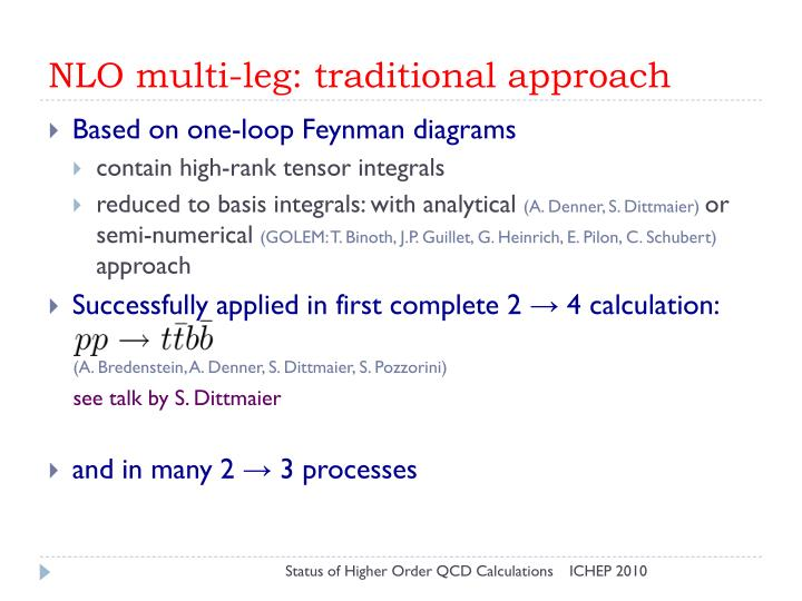 NLO multi-leg: traditional approach