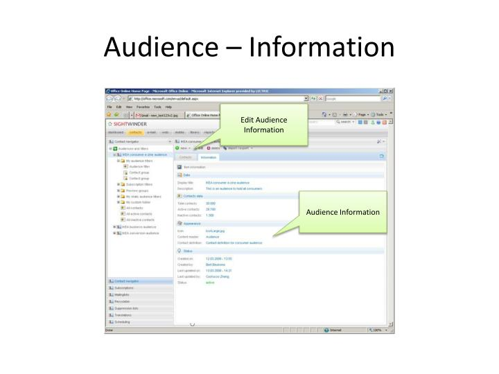 Audience – Information