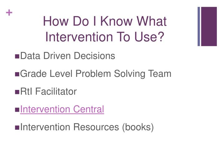 How Do I Know What Intervention To Use?
