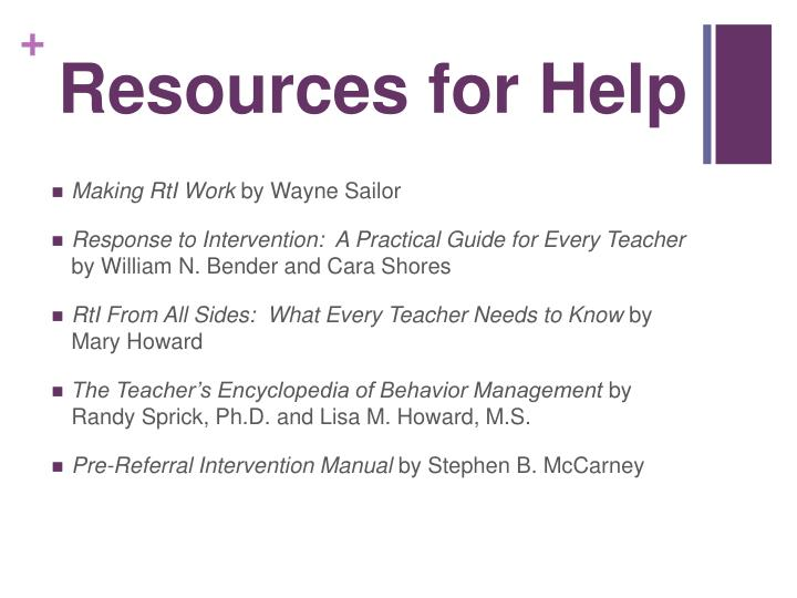 Resources for Help