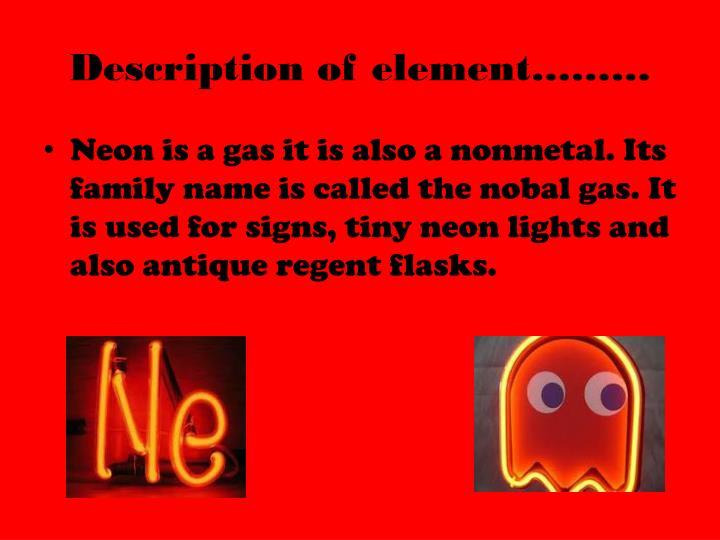 Description of element