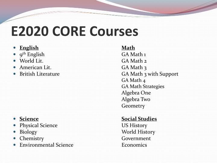 E2020 CORE Courses