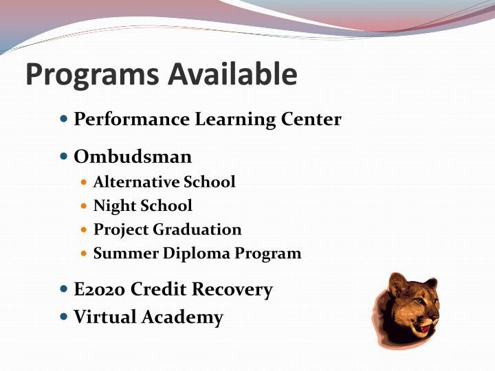 Programs available
